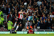 Diafra Sakho of West Ham United scores the opening goal against Sheffield United  during the Capital One Cup match at the Boleyn Ground, London<br /> Picture by David Horn/Focus Images Ltd +44 7545 970036<br /> 26/08/2014