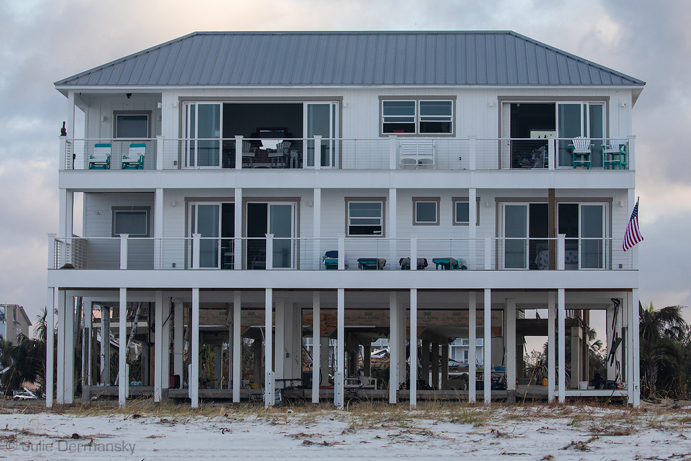 Sand Palace, the only house in Mexico Beach , Florida, on the beach that survied Hurricane Michael with little damage.