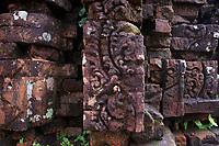 Jumbled masonry and Hindu carvings at My Son Sanctuary, Qang Nam Province, Vietnam