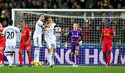 SWANSEA, WALES - Monday, September 16, 2013: Swansea City's Miguel Perez Cuesta 'Michu' celebrates scoring the second goal against Liverpool during the Premiership match at the Liberty Stadium. (Pic by David Rawcliffe/Propaganda)