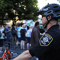 A Seattle police officer watches as protesters take part in a Black Lives Matter march, Saturday, August 26, 2017, in Seattle, Washington. Several thousand people attended a downtown rally and then marched through the city to call attention to minority rights and police brutality. (Alex Menendez via AP)