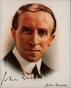 John Buchan, lst Baron Tweedsmuir (1875-1940), British author and statesman born in Perth, Scotland.  Governor-general of Canada 1935.  Novels include 'The Thirty-Nine Steps' (1915) and 'Greenmantle' (1916).   From a series of cards of 'Famous British Authors' (London, 1937).