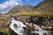 Waterfalls in the pass of Glencoe, west Highlands.