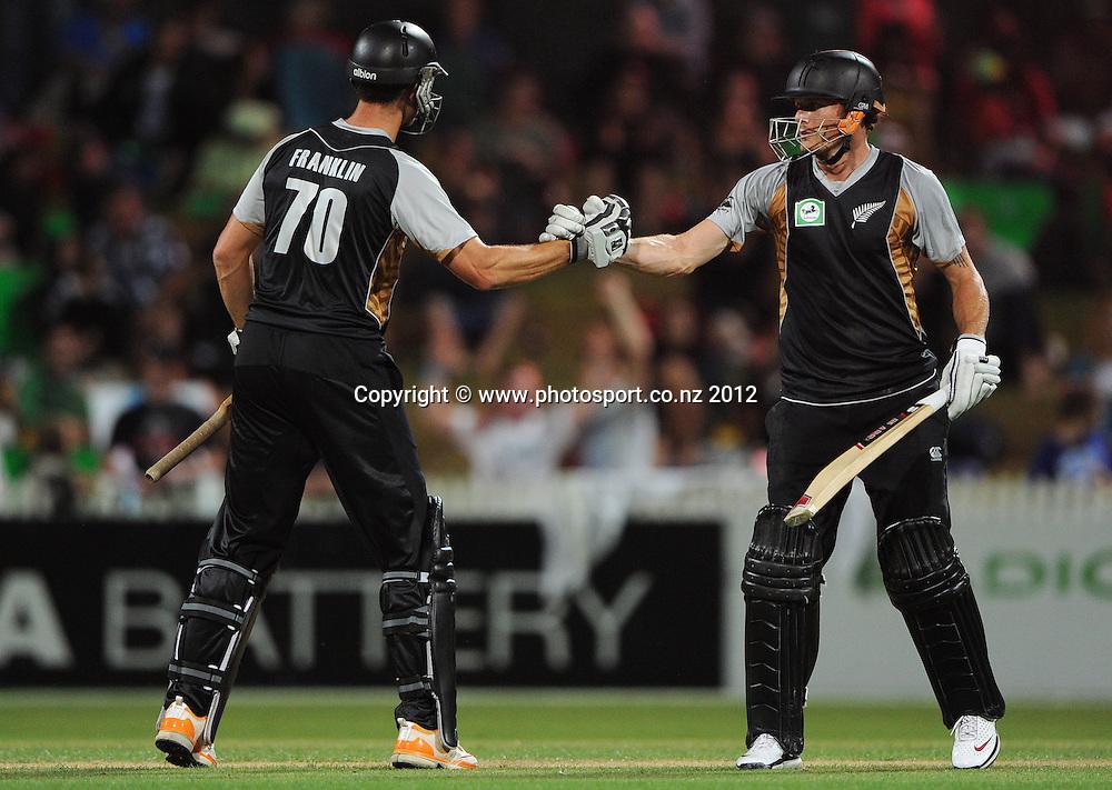 James Franklin and Rob Nicol during the 2nd Twenty20 InternationaI cricket match between New Zealand and Zimbabwe at Seddon Park in Hamilton, New Zealand on Tuesday 14 February 2012. Photo: Andrew Cornaga/Photosport.co.nz