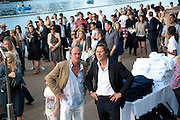 DAVID FLINTWOOD; ARPAD BUSSON, Chucs Dive & Mountain Shop charity Swim Party: Lido at The Serpentine. London. 4 July 2011. <br /> <br />  , -DO NOT ARCHIVE-© Copyright Photograph by Dafydd Jones. 248 Clapham Rd. London SW9 0PZ. Tel 0207 820 0771. www.dafjones.com.