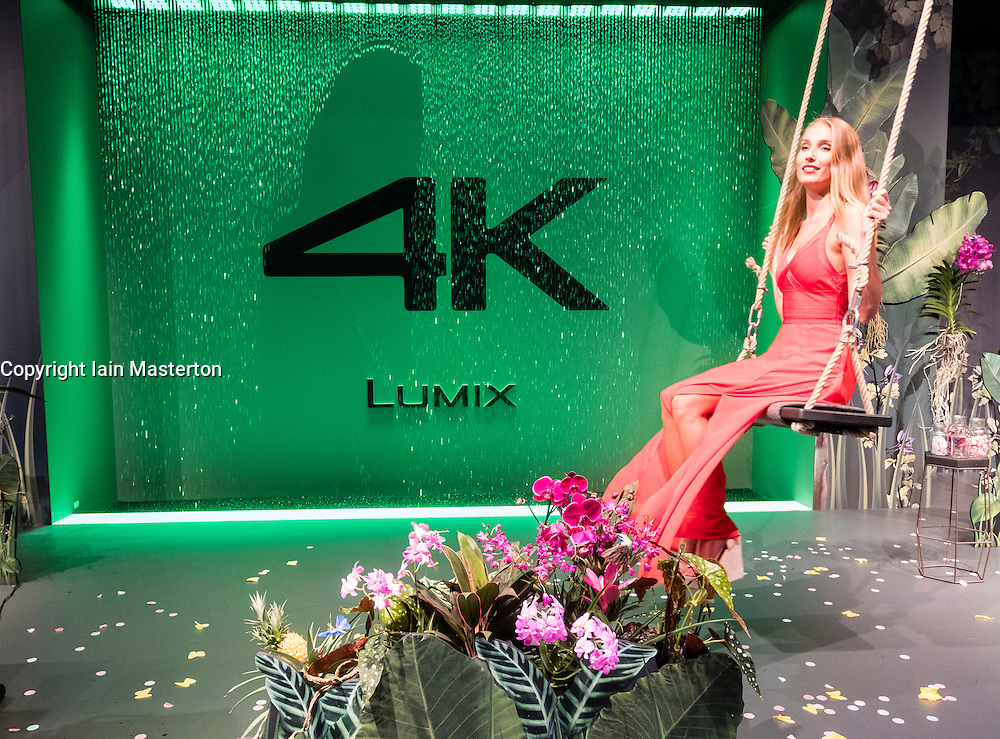 Panasonic Lumix 4K video exhibit with model at Photokina trade fair in Cologne, Germany , 2016
