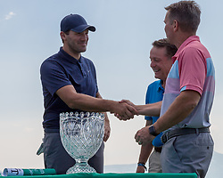 """July 15, 2018 - Stateline, Nevada, U.S - Former Dallas Cowboys quarterback, TONY ROMO, recieves wins the 29th annual American Century Championship at the Edgewood Tahoe Golf Course in Stateline, Nevada, on Sunday, July 15, 2018...Romo rallied from four points back to win his first American Century Championship at Lake Tahoe on Sunday...Romo, who retired after the 2016 NFL season and is now an NFL analyst, unseated three-time defending champion Mark Mulder and first- and second-round leader Joe Pavelski...Ã'ItÃ•s a special win,Ã"""" said Romo, who had finished second three times in seven previous trips to the annual celebrity golf tournament at Edgewood Tahoe Golf Course. Ã'It feels like youÃ•re playing a tournament back home here. The day felt good for a lot of reasons.Ã""""..Romo tapped in for par, worth one point, on the 18th hole to finish with 71 points, three ahead of Mulder, the former major league pitcher. (Credit Image: © Tracy Barbutes via ZUMA Wire)"""