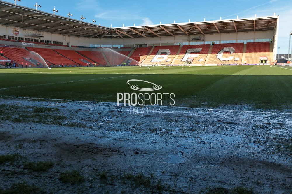 General view of the stadium before kick-off. The pitch is holding quite a lot of water despite the dry, sunny conditions before the EFL Sky Bet League 2 match between Blackpool and Hartlepool United at Bloomfield Road, Blackpool, England on 25 March 2017. Photo by Mark P Doherty.