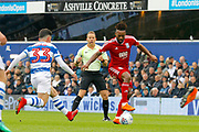 Birmingham City midfielder Jacques Maghoma (19) takes the ball down, under pressure from QPR forward Ilias Chair (33) during the EFL Sky Bet Championship match between Queens Park Rangers and Birmingham City at the Loftus Road Stadium, London, England on 28 April 2018. Picture by Andy Walter.