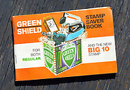 London, England - June 09, 2017: Book of Green Shield Stamps from the 1970's. Green Shield Stamps was a British sales promotion scheme that shoppers could exchange stamps for goods.
