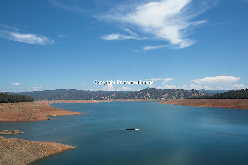 View of shrinking Oroville Lake reservoir - the most important resevoir in the California State Water Project which is now at 40 percent of water capacity as a severe drought continues to affect the Golden State of California.