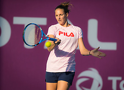 February 12, 2019 - Doha, QATAR - Karolina Pliskova of the Czech Republic practices at the 2019 Qatar Total Open WTA Premier tennis tournament (Credit Image: © AFP7 via ZUMA Wire)