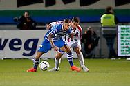 19-03-2016 VOETBAL:PEC ZWOLLE-WILLEM II:ZWOLLE<br /> Lars Veldwijk van PEC Zwolle in duel met  Dries Wuytens  van Willem II <br /> <br /> Foto: Geert van Erven