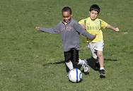 Middletown, New York - Boys play soccer during a program at the Middletown YMCA on April 14, 2012.
