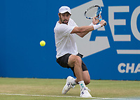 Tennis - 2017 Aegon Championships [Queen's Club Championship] - Day Four, Thursday <br /> <br /> Men's Singles: Round of 16 - Jordan THOMPSON (AUS) vs Sam QUERREY (USA)<br /> <br /> Jordan Thompson (AUS) prepares a back hand return at Queens Club<br /> <br /> COLORSPORT/DANIEL BEARHAM