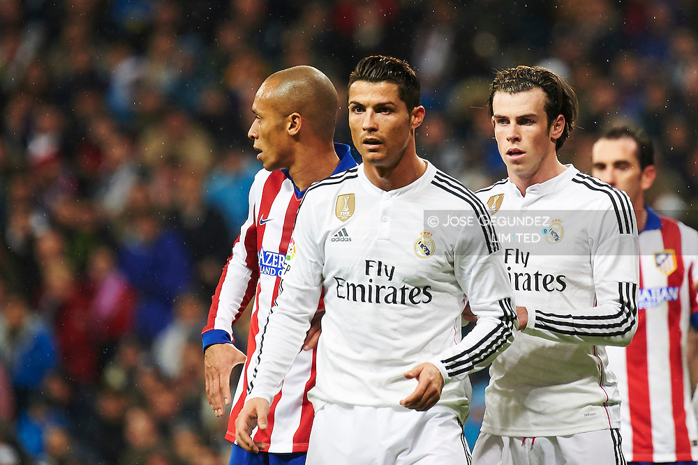 Cristiano Ronaldo and Gareth Bale during the Copa del Rey, round of 8 match between Real Madrid and Atletico de Madrid at Estadio Santiago Bernabeu on January 15, 2015 in Madrid, Spain.
