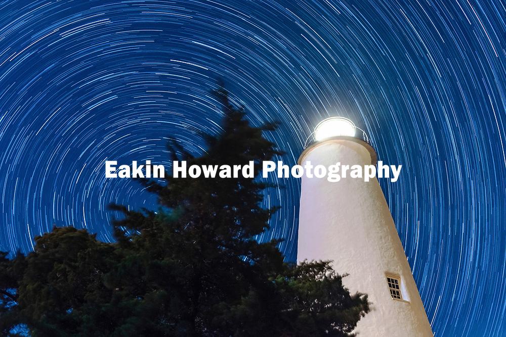 Star Trails around the Ocracoke Island Lighthouse on Ocacoke Island, NC on May 23, 2018.