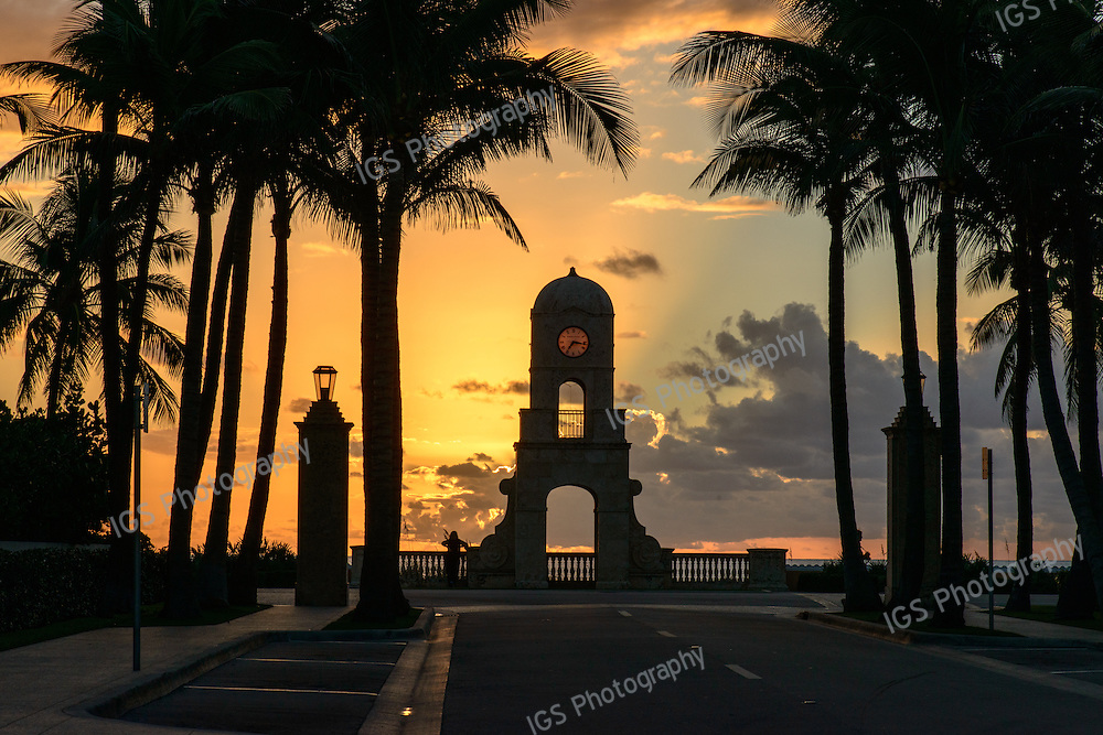 Worth Avenue Clock Tower constructed with coral stone overlooks the Atlantic Ocean