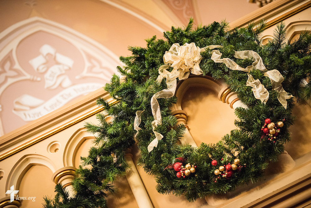 A Christmas wreath on Wednesday, Dec. 9, 2015, at Trinity Lutheran Church in Soulard, a part of St. Louis. LCMS Communications/Erik M. Lunsford