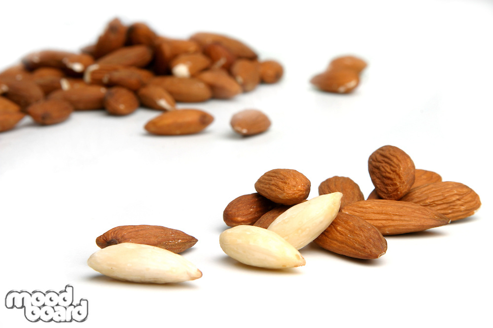 Studio shot of almonds on white background