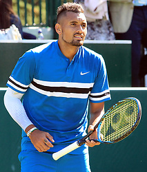 June 27, 2018 - Stole Poges, United Kingdom - Nick Kyrgios (AUS) during his match against Nick Kyrgios (AUS) day two of The Boodles Tennis Event at Stoke Park on June 27, 2018 in Stoke Poges, England  (Credit Image: © Kieran Galvin/NurPhoto via ZUMA Press)