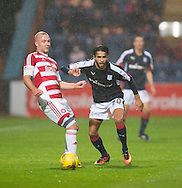 Hamilton&rsquo;s Grant Gillespie and Dundee&rsquo;s Faissal El Bakhtaoui - Dundee v Hamilton Academical in the Ladbrokes Scottish Premiership at Dens Park<br /> <br />  - &copy; David Young - www.davidyoungphoto.co.uk - email: davidyoungphoto@gmail.com