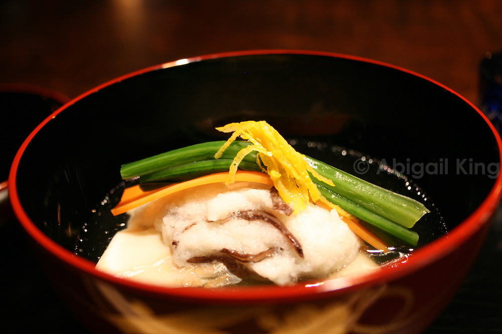 Hoshinoya soup with Lilt Root, Jew's Ear Fungus, Local Trout, Carrot &amp; Spinach.<br /> Japanese delicacy served in the Hoshinoya resort.
