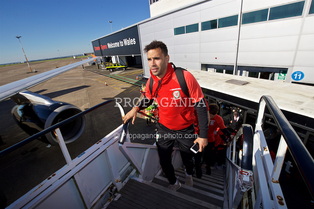 CARDIFF, WALES - Wednesday, October 5, 2016: Wales' Hal Robson-Kanu boards the team plane at Cardiff Airport as the team travel to Vienna ahead of the 2018 FIFA World Cup Qualifying Group D match against Austria. (Pic by David Rawcliffe/Propaganda)