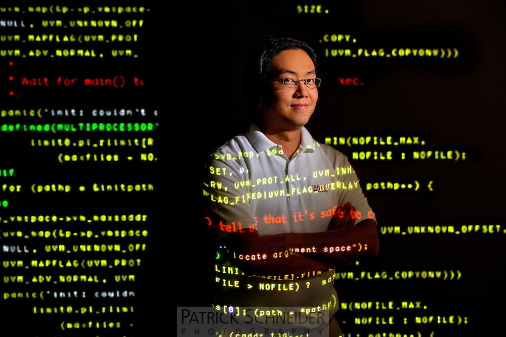 Photography of Lawrence Teo, VP of Development at Calyptix Security at their Charlotte North Carolina offices...<br />
