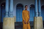 Twin pillars at preaching hall of Kumarakanda Maha Viharaya Buddhist Temple. at Dodanduwa,  just north of Galle.