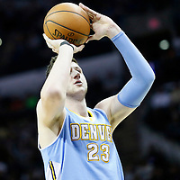 03 April 2015: Denver Nuggets center Jusuf Nurkic (23) is seen at the free throw line during the San Antonio Spurs 123-93 victory over the Denver Nuggets , at the AT&T Center, San Antonio, Texas, USA.