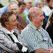 Audience react as Virginia Prescott interviews Brooke Gladstone at a live event at UNH in September, 2014