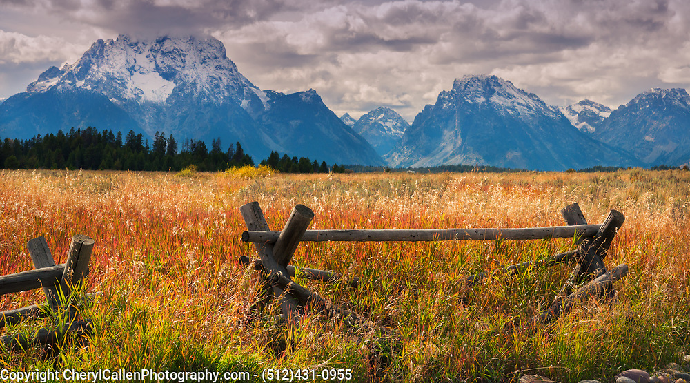 Fall fields in The Tetons with Buck rail fence