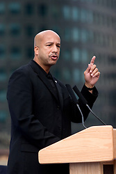 1st January, 2006. New Year's Day in New Orleans, Louisiana. Louisiana Rebirth interfaith service at the Superdome rings out the old disasterous 2005 and rings in what politicians and locals hope will be a successful 2006. Mayor Ray Nagin points the way ahead for gathered residents as he speaks of his hopes for 2006.<br /> Photo; Charlie Varley/varleypix.com