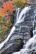 The water flows over Ithaca Falls in the Finger Lakes Region of New York State.