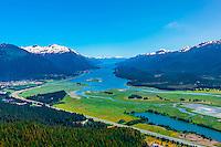 Aerial view, Mendenhall Wetlands State Game Refuge, Juneau, Alaska USA.