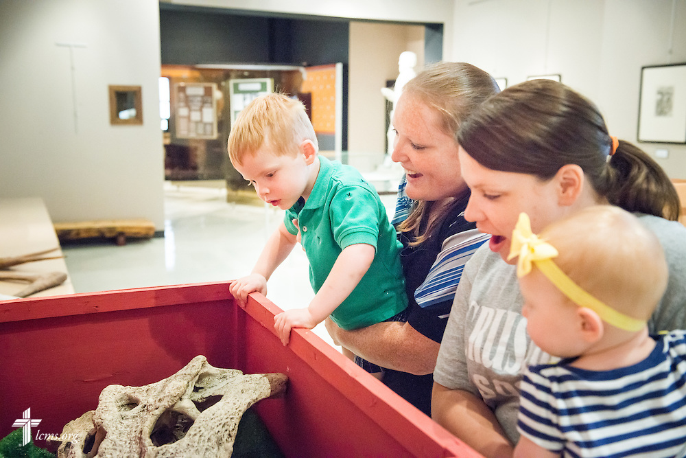 Young children are accompanied in the museum Monday, July 21, 2014, at Concordia Historical Institute on the campus of Concordia Seminary in Clayton, Mo.  LCMS Communications/Erik M. Lunsford