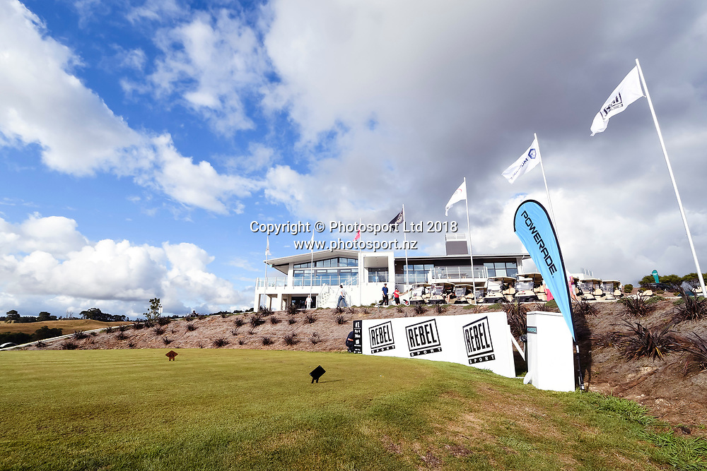 General view, Tee 1 and club house.<br /> NZ Rebel Sports Masters, Wainui Golf Club, Wainui, Auckland, New Zealand. 14 January 2018. &copy; Copyright Image: Marc Shannon / www.photosport.nz.