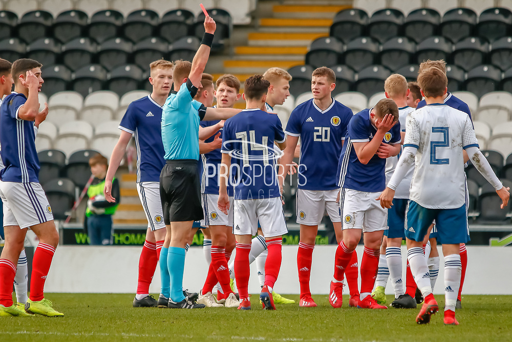 Ciaran Dickson (Rangers FC) shown a straight red and is dismissed following his challenge half way through the 1st half during the U17 European Championships match between Scotland and Russia at Simple Digital Arena, Paisley, Scotland on 23 March 2019.