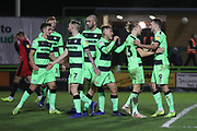 Forest Green Rovers Christian Doidge(9) scores a goal 2-0 and celebrates with his team mates during the EFL Sky Bet League 2 match between Forest Green Rovers and Grimsby Town FC at the New Lawn, Forest Green, United Kingdom on 22 January 2019.