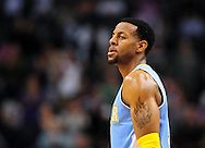 Nov. 12, 2012; Phoenix, AZ, USA; Denver Nuggets guard Andre Iguoldala (9) reacts on the court in the game against the Phoenix Suns at US Airways Center. The Suns defeated the Nuggets 110-100. Mandatory Credit: Jennifer Stewart-USA TODAY Sports