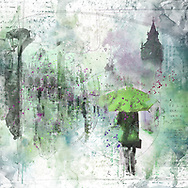 Sketch of a person with a green umbrella against city elements on a light green and purple watercolor background