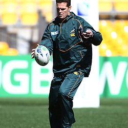 Friday 16th September 2011, Rassie Erasmus during the South African Team photograph on-field and Captain's Run at Wellington Regional Stadium. <br /> Photographer Steve Haag