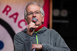 London, UK. 16th March, 2019. Steve Hart, vice-chair of Stand Up To Racism, addresses thousands of people on the March Against Racism demonstration on UN Anti-Racism Day against a background of increasing far-right activism around the world and a terror attack yesterday on two mosques in New Zealand by a far-right extremist which left 49 people dead and another 48 injured.