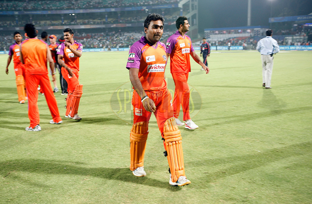 Kochi Tuskers Kerala captain Mahela Jayawardene after winning the match 41 of the Indian Premier League ( IPL ) Season 4 between the Delhi Daredevils and the Kochi Tuskers Kerala held at the Feroz Shah Kotla Stadium in Delhi, India on the 2nd May 2011..Photo by Money Sharma/BCCI/SPORTZPICS.