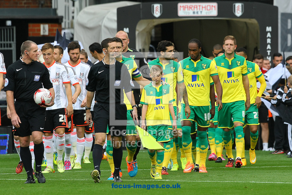 The players take to the pitch before the Sky Bet Championship match at Craven Cottage, London<br /> Picture by Paul Chesterton/Focus Images Ltd +44 7904 640267<br /> 18/10/2014