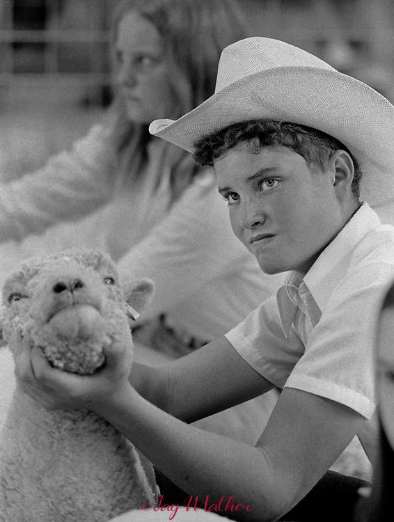 A confident boy at the Jefferson County 4-H livestock show exhibits his sheep, 1974
