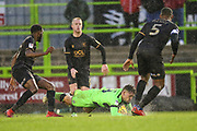 Forest Green Rovers Dayle Grubb(8)is brought down during the EFL Sky Bet League 2 match between Forest Green Rovers and Mansfield Town at the New Lawn, Forest Green, United Kingdom on 15 December 2018.