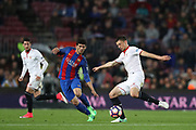 CLEMENT LENGLET of Sevilla FC duels for the ball with CARLES ALENA of FC Barcelona during the Spanish championship Liga football match between FC Barcelona and Sevilla FC on April 5, 2017 at Camp Nou stadium in Barcelona, Spain. <br /> Photo Manuel Blondeau / AOP Press / ProSportsImages / DPPI