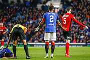 Rangers Captain James Tavernier tries talking to Kirk Broadfoot of Kilmarnock following his challenge on Connor Goldson of Rangers during the Ladbrokes Scottish Premiership match between Rangers and Kilmarnock at Ibrox, Glasgow, Scotland on 31 October 2018.